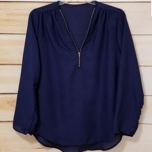 Flowy Navy Long Sleeve Zippered Boutique Blouse
